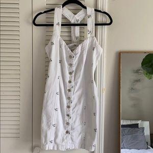 🌹Vintage 90s White Denim Dress With Floral Detail